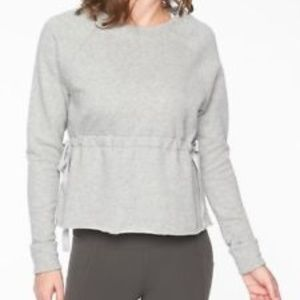 Athleta Grey Heather Studio Cinch Sweatshirt